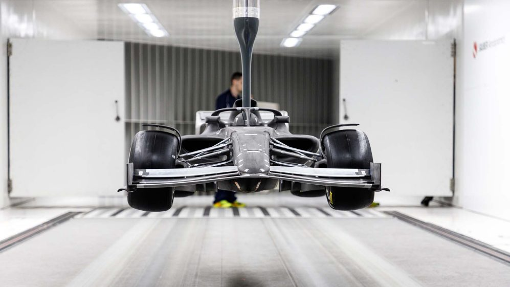 The 50% scale F1 2021 model in Sauber's wind tunnel testing facility. Photo via Formula 1.