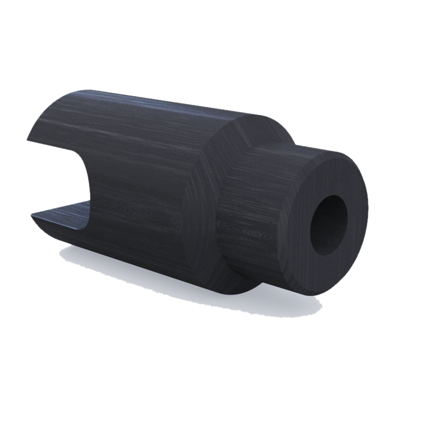 The 3D printed clevis part for a dairy bottle production line was produced on an Anisoprint 3D printer from carbon fiber-reinforced plastic. Image via Anisoprint.
