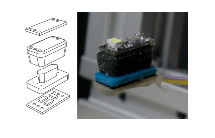 A 3D printed actuactor and color sensor. Image via TU Delft.