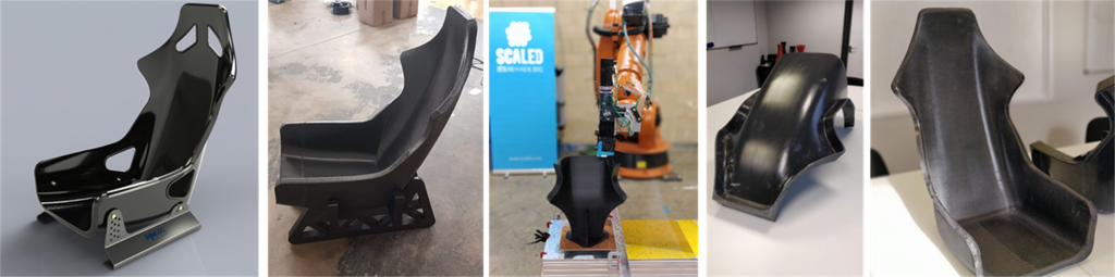 Scaled's 3D printer used to make a full-size bucket seat. Photos via AECOM