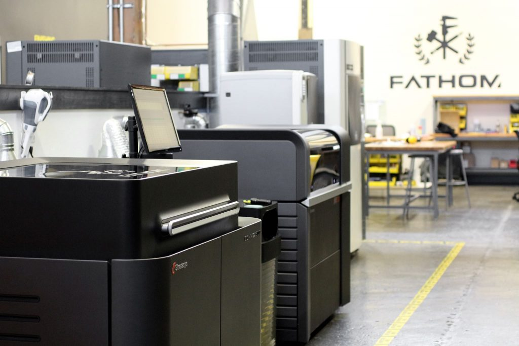 A selection of 3D printers part of FATHOM's expansive technology offering. Photo via FATHOM