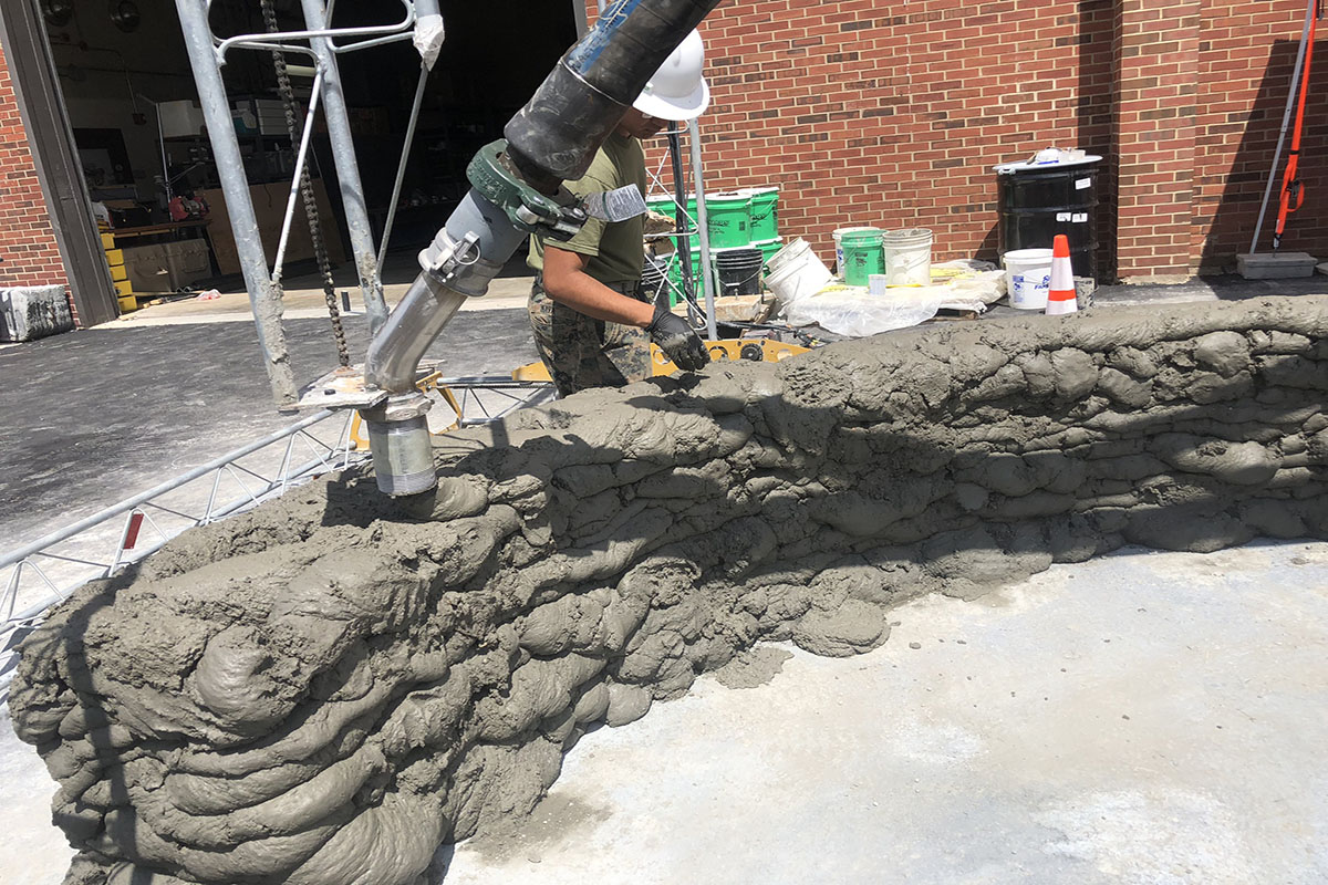 The U.S Marine concrete 3D printer. Photo via U.S. Marines/Staff Sgt. Michael Smith, 7th ESB