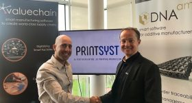 Left to Right: Itamar Yona (Printsyst Ltd. CEO) and Tom Dawes (Valuechain and DNA.am Ltd. Chairman). Photo via Printsyst