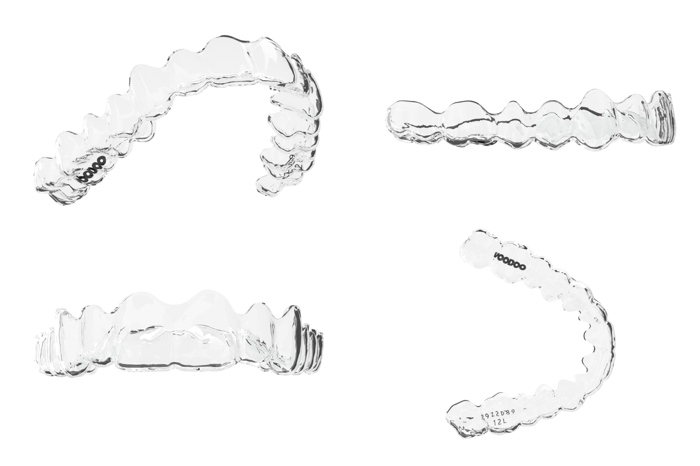 3D printed clear aligners. Image via Voodoo.