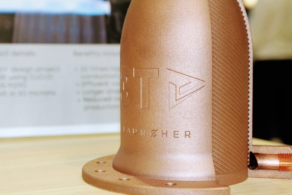 Copper rocket engine 3D printed by 3T for Launcher 2. Photo by Michael Petch.