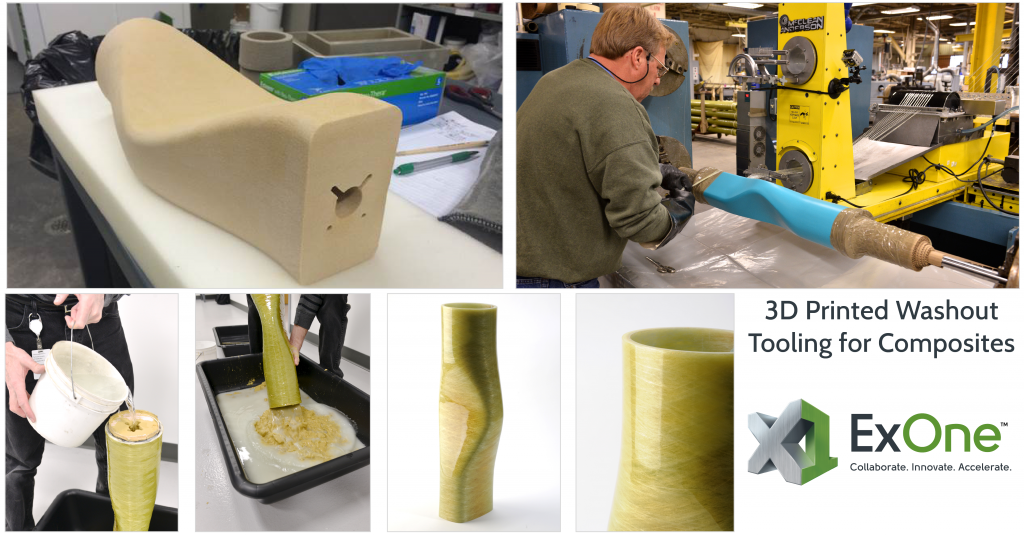 Workflow for producing 3D printed sacrificial tooling with ExOne's water washout method. Photos via ExOne