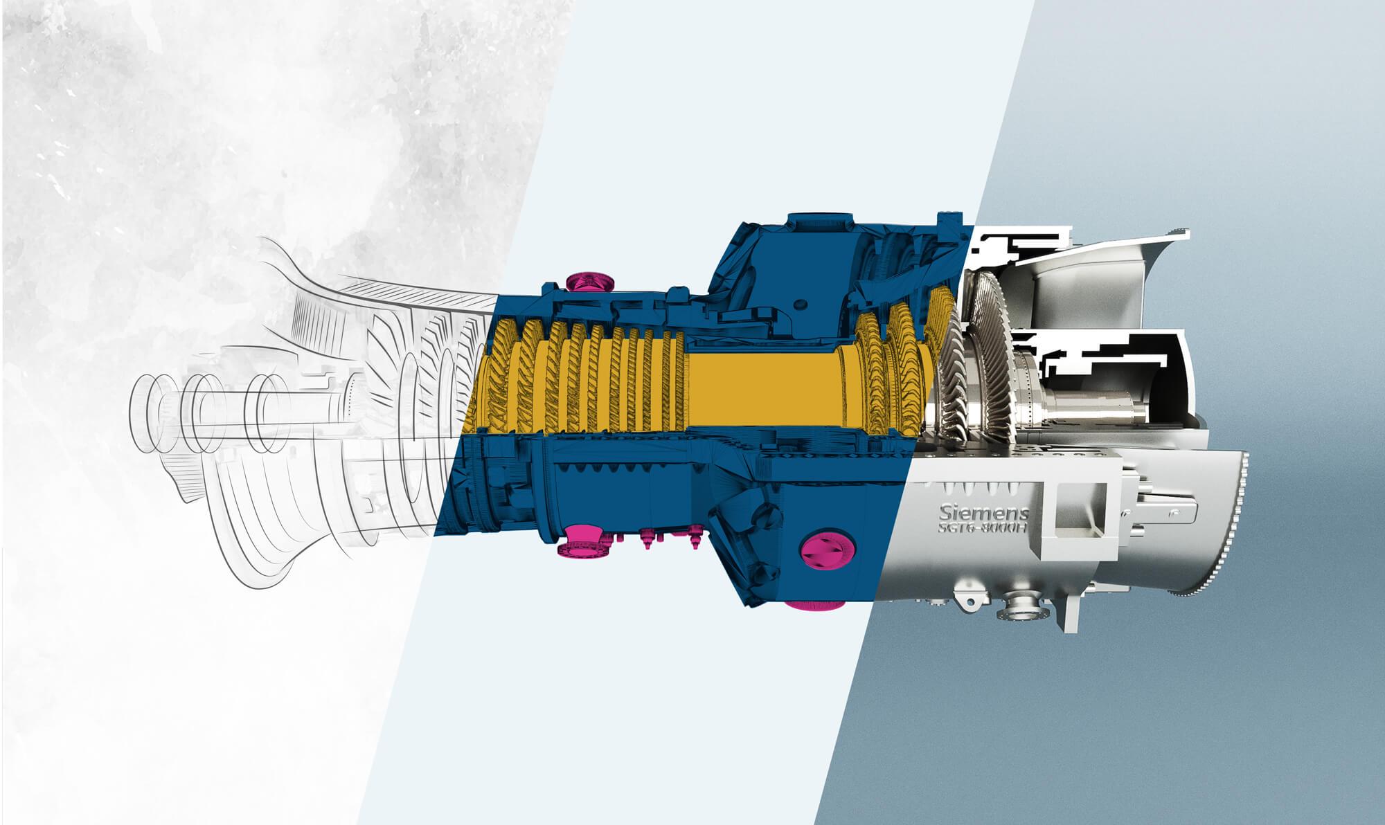 The Siemens SGT6-8000 H gas turbine. Image via H+E-Produktentwicklung.