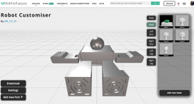 MMF's customizer tool, showcasing the different options for the head part of the robot. Image via MyMiniFactory.