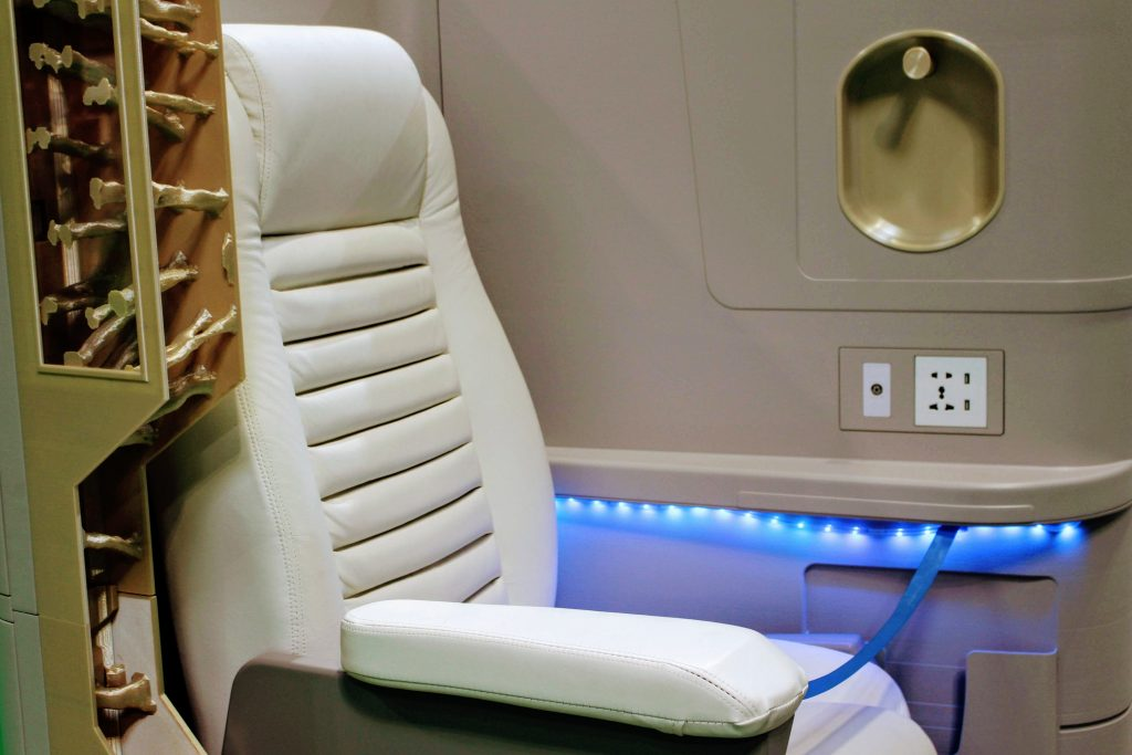 An aircraft cabin mock-up made using 3D printed parts from Stratasys. Photo by Michael Petch