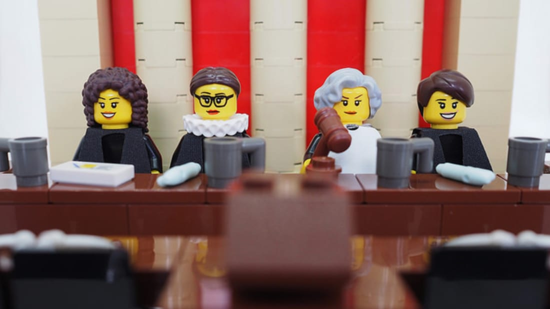 Supreme court judges in LEGO. Photo by Maia Weinstock
