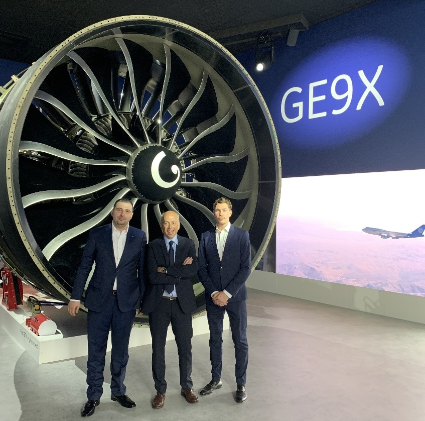 From left: Titomic's Chief of Strategy Vahram Papyan, with GE's AP&C President & CEO Alain Dupont and Titomic Procurement Manager Beau Lang at the Paris 2019 Airshow. Photo via GE Additive.