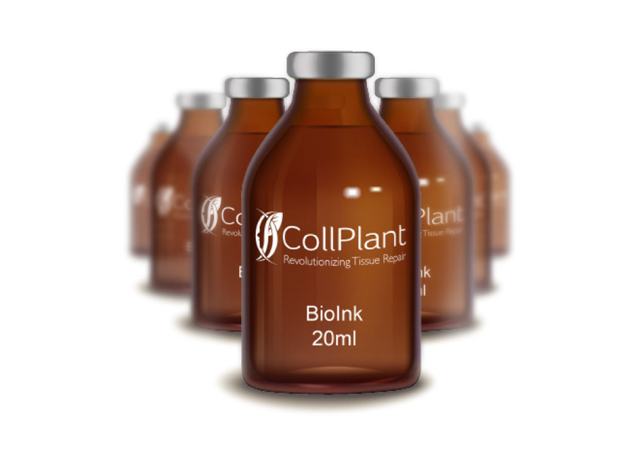 Bottles of CollPlant rhCollagen bioink. Image via CollPlant