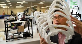 A 3D printed rib cage model. Photo via QUT.