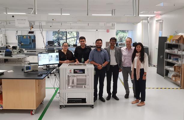 Space Foundry's Generation 1 Printer & the Team. Photo via Space Foundry.