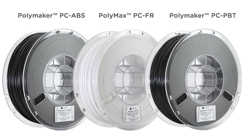 The three new materials from Polymaker and Covestro. Photo via Polymaker.