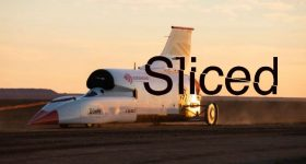 Featured image shows Sliced logo edited on photo of the Bloodhound supersonic car. Original photo via Bloodhound LSR.