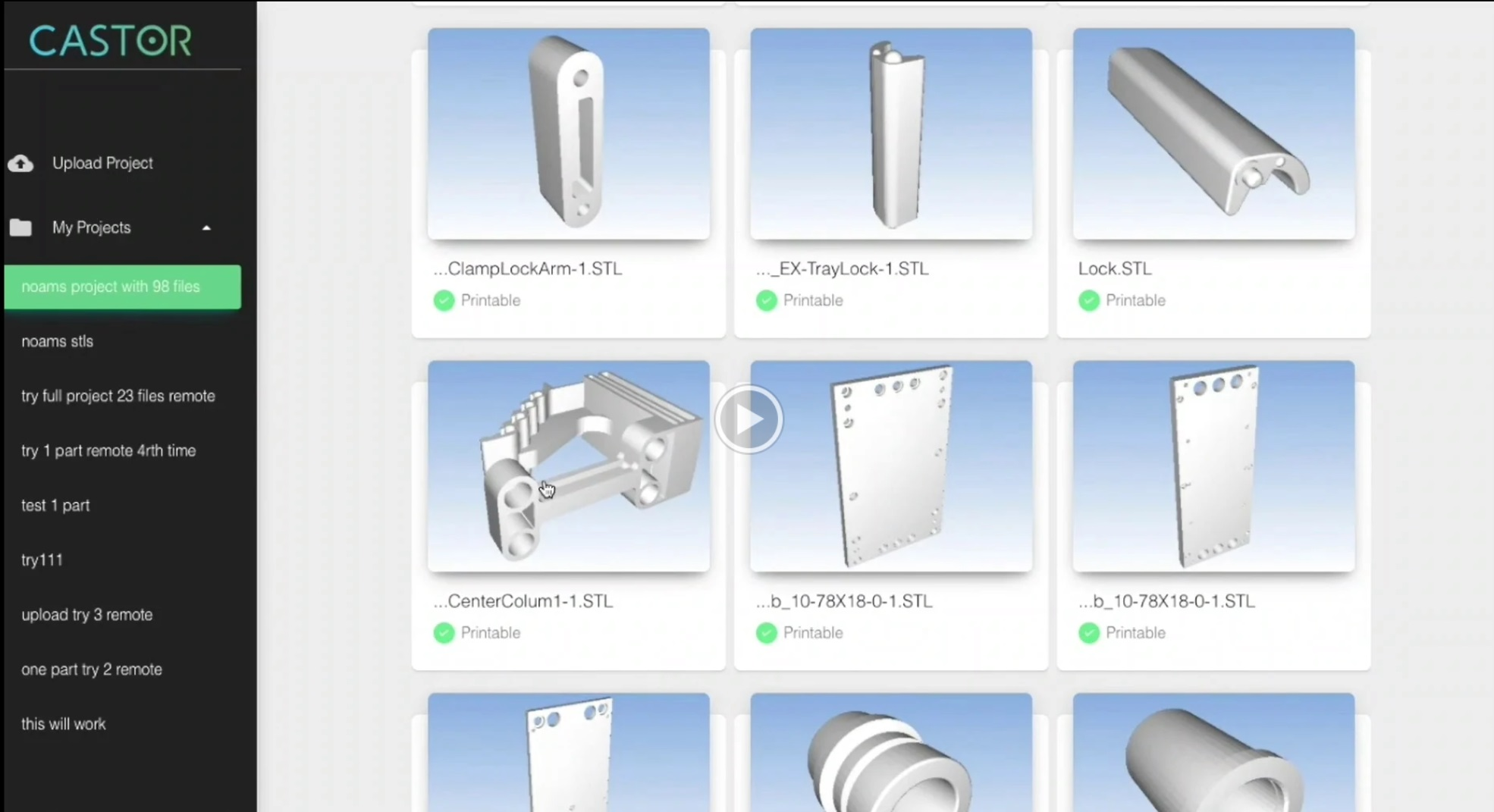 Parts identified for 3D printing in the Castor platform. Image via Castor Technologies