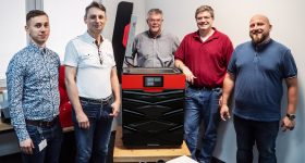 From left to right: Radoslaw Antosz, Key Account Manager at Sinterit, Sales Director Janusz Wroblewski, Herndon 3D founder Ran Farmer, JR Bontrager, 3D Modeler and Scan Specialist at 3D herndon, and Robert Garbacz, Support Manager at Sinterit. Photo via Sinterit