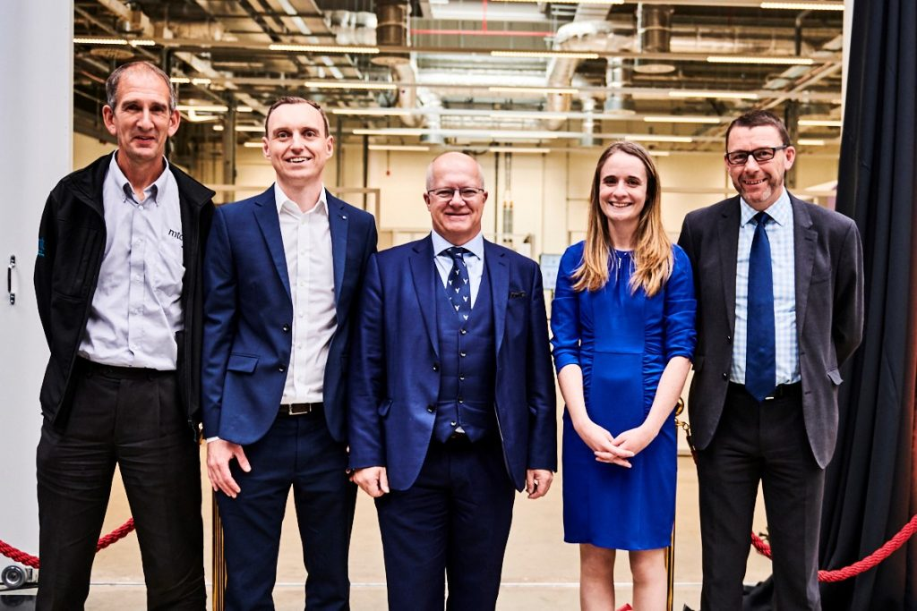 MTC and DRAMA project representatives including Chief Engineer Dr. Katy Milne (second from right) and Dr. Simon Weeks, CTO of the Aerospace Technology Institute (center) at the inauguration of the new innovation hub. Photo via The MTC