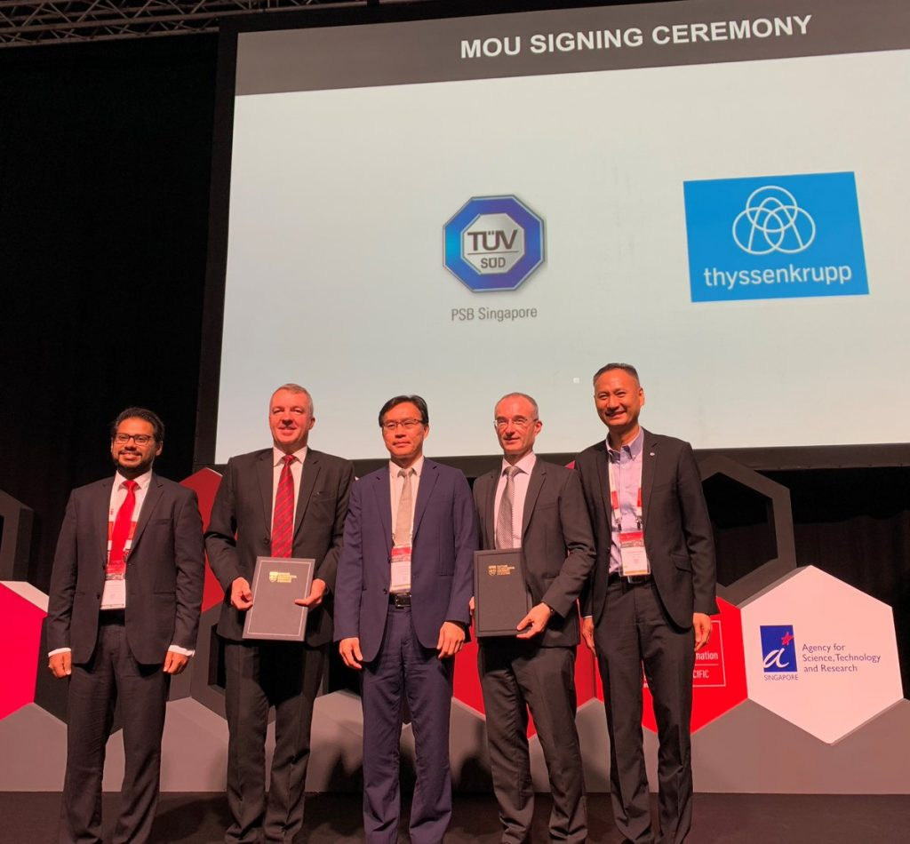 thyssenkrupp Innovations and TÜV SÜD partners at the signing of the recent MoU for the APAC region. Photo via TÜV SÜD