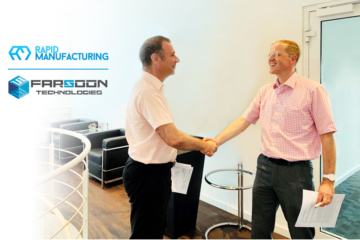 Mr. Alain Stebler, CEO of Rapid Manufacturing AG, and Dirk Simon, Managing Director of FARSOON Europe GmbH, signed a joint development agreement. Photo via Farsoon.