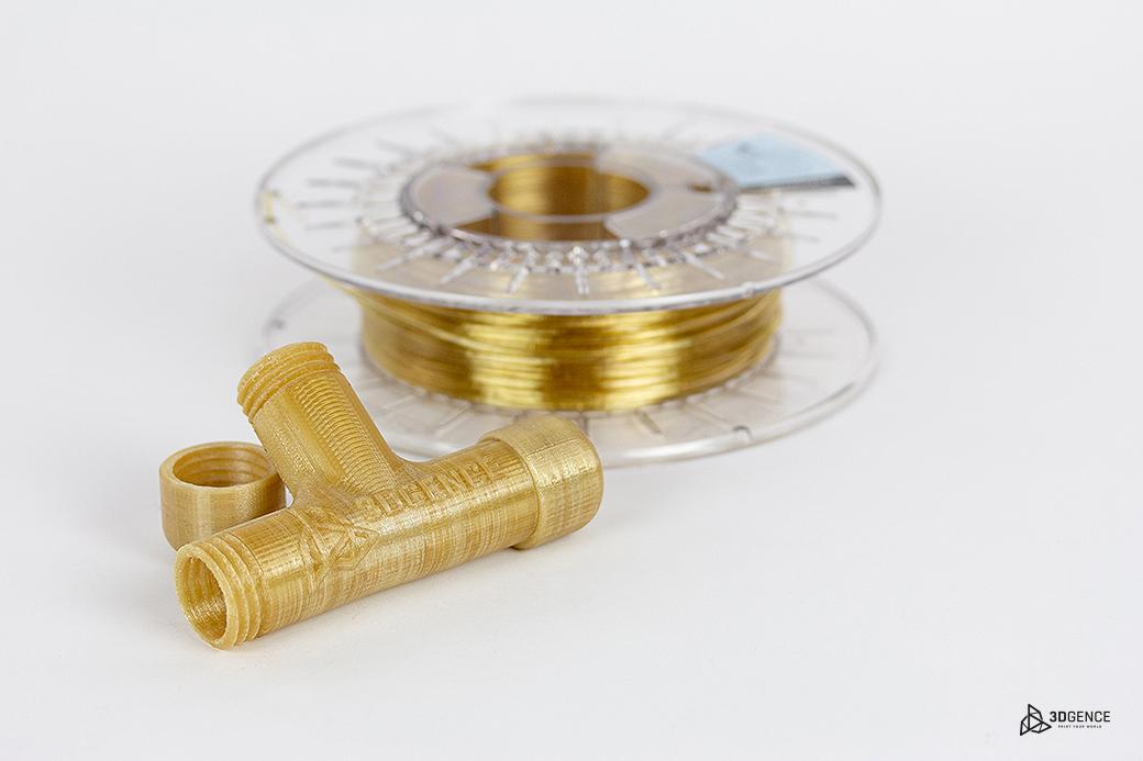 PEKK-A filament next to 3D printed sample. Photo via 3DGence.