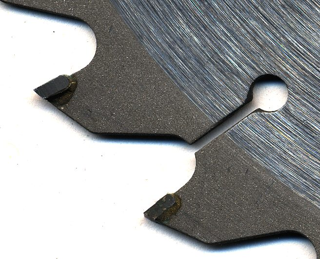 Conventionally-made circular saw blade with tungsten-carbide inserts. Photo via Basilicofresco, WikiMedia Commons