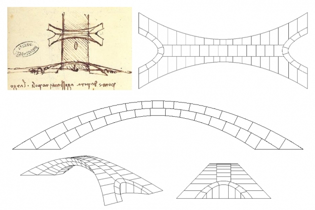 Leonardo da Vinci's original drawing of the bridge proposal (top left), beside drawings by Karly Bast and Michelle Xie showing how the structure could be divided up into 126 individual blocks. Image via MIT.