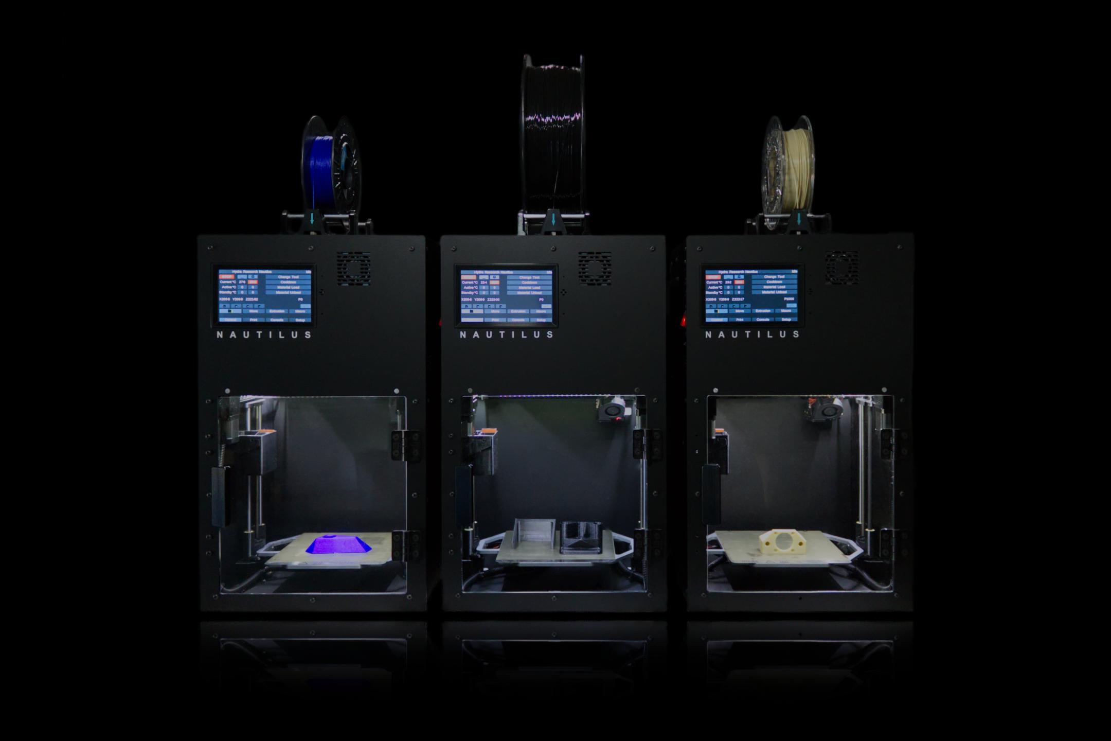 Three Nautilus 3D printers. Image via Hydra Research.