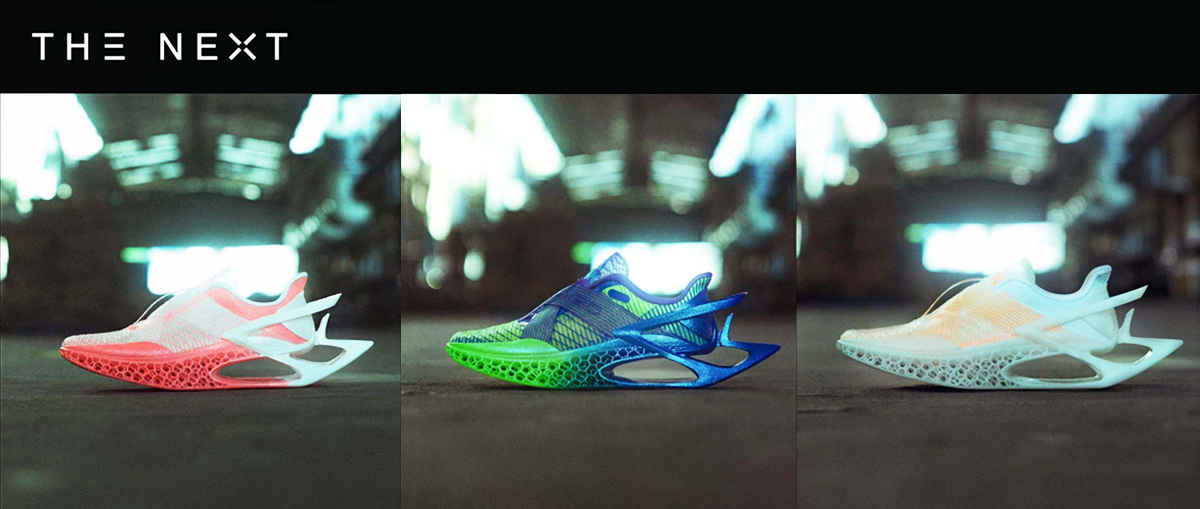 Different version of the 3D printed 'The Next' shoe. Image via Farsoon.