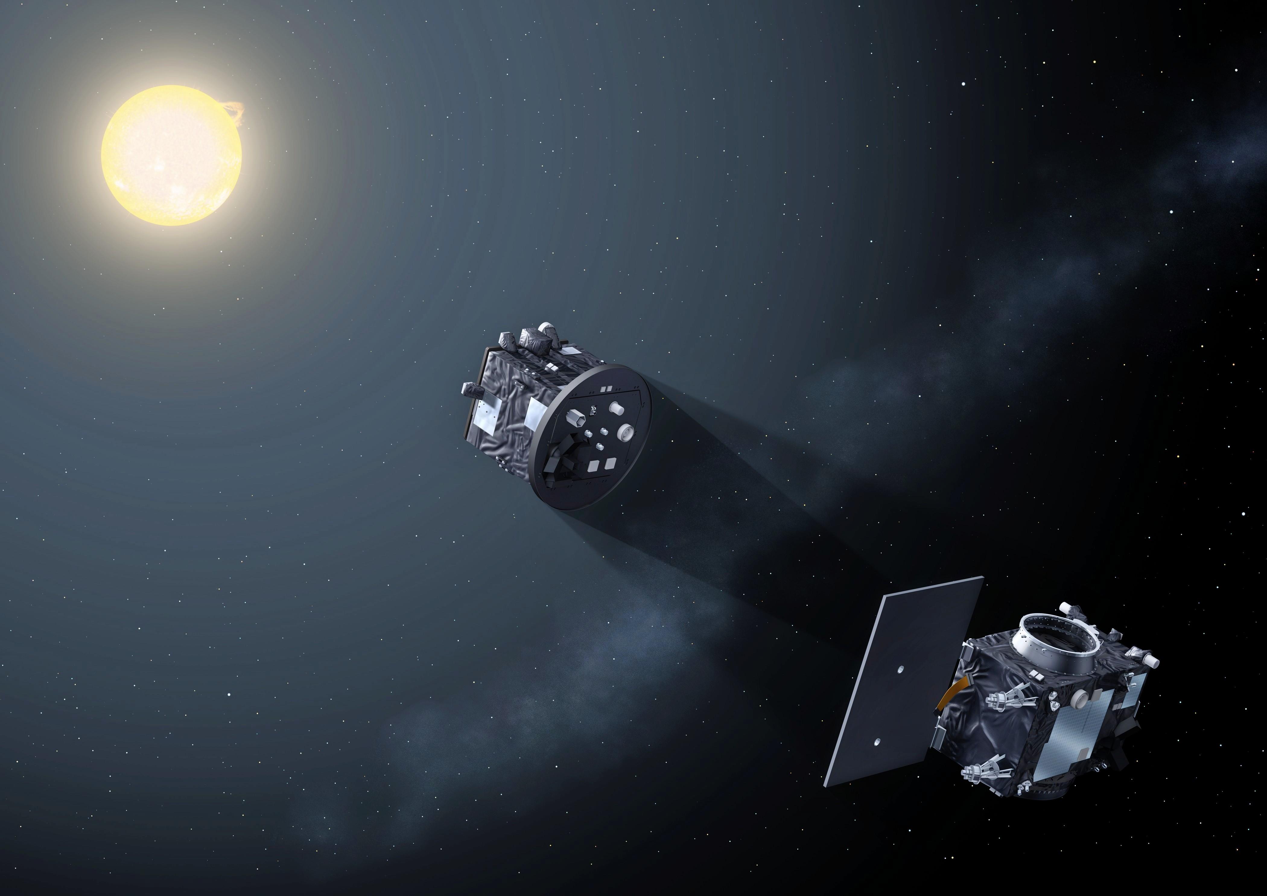 Proba-3 satellites form artificial eclipse. Image via ESA.