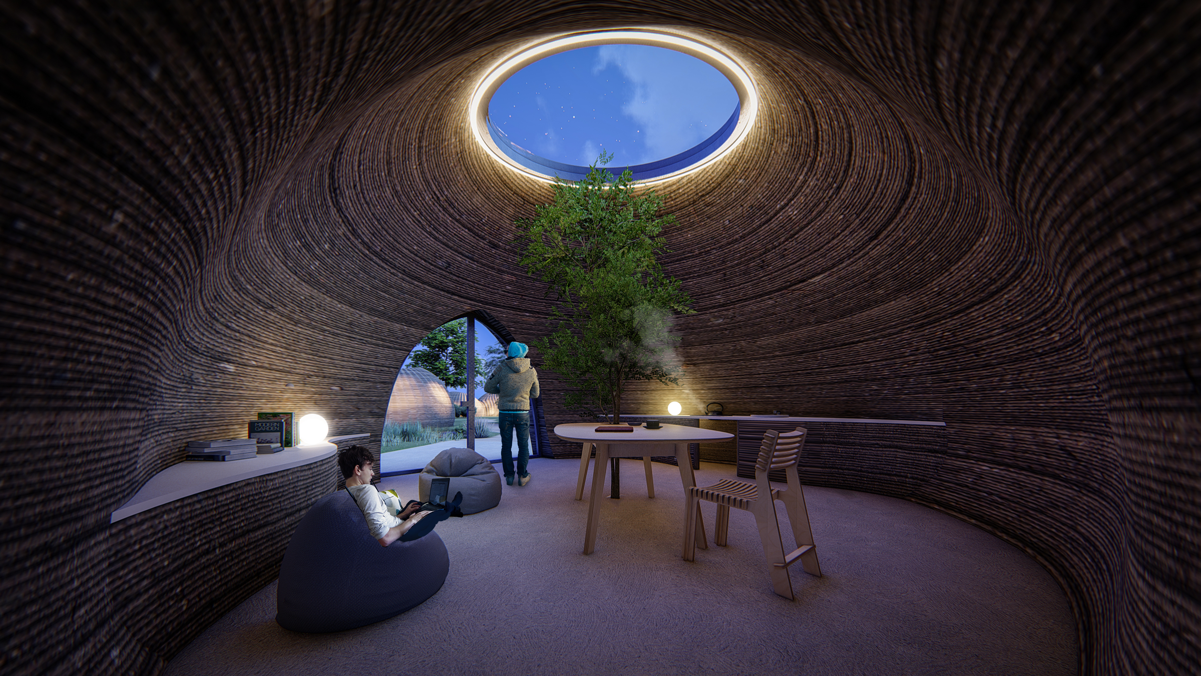 Rendering of the TECLA 3D printed earth house at night. Image via Mario Cucinella Architects.