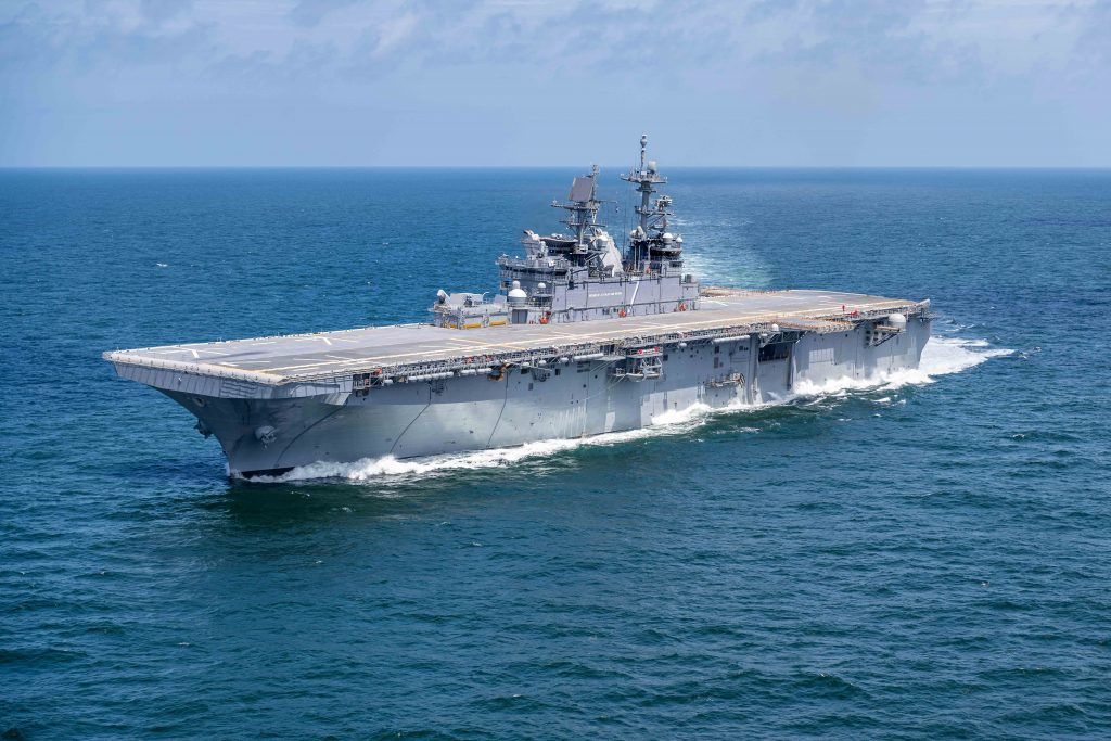 An aircraft carrier produced by Newport News Shipbuilding for the U.S. Navy. U.S. Navy photo via Huntington Ingalls Industries, parent company of Newport News Shipbuilding, by Derek Fountain