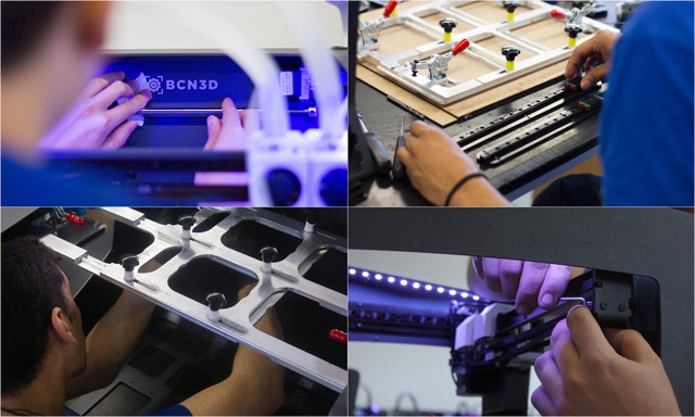 Construction of the R19 3D printer range. Photos via BCN3D