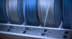 The sustainable 3D printing filament made from PET water bottles. Photo via KLM Royal Dutch Airlines.