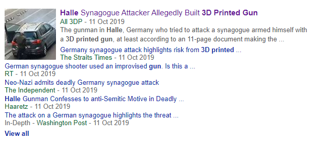 List of headlines provided by a Google search of the attack. Screengrab via Google