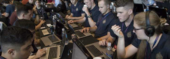 The Navy-hosted HACKtheMACHINE event. Photo via USNA.