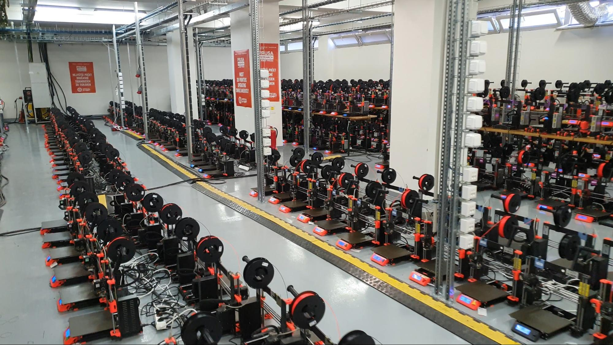 Prusa Research's record for the most amount of 3D printers operating simultaneously. Photo via Prusa Research.