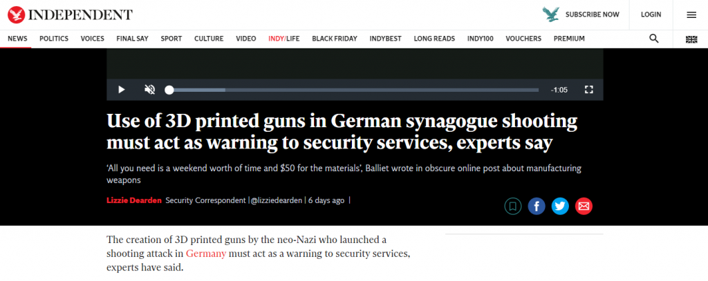 Headline reporting the recent attack in Halle posted by The Independent newspaper in the UK. Image via The Independent