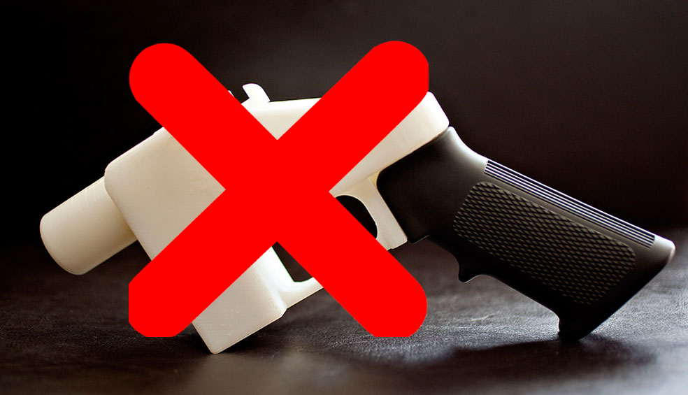 "No to 3D printed guns. Photo of the 3D printed ""Liberator"" handgun. Original photo via Defense Distributed"