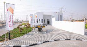 The exterior of the 3D printed two story building in Al Warsan, Dubai. Photo via ECC.