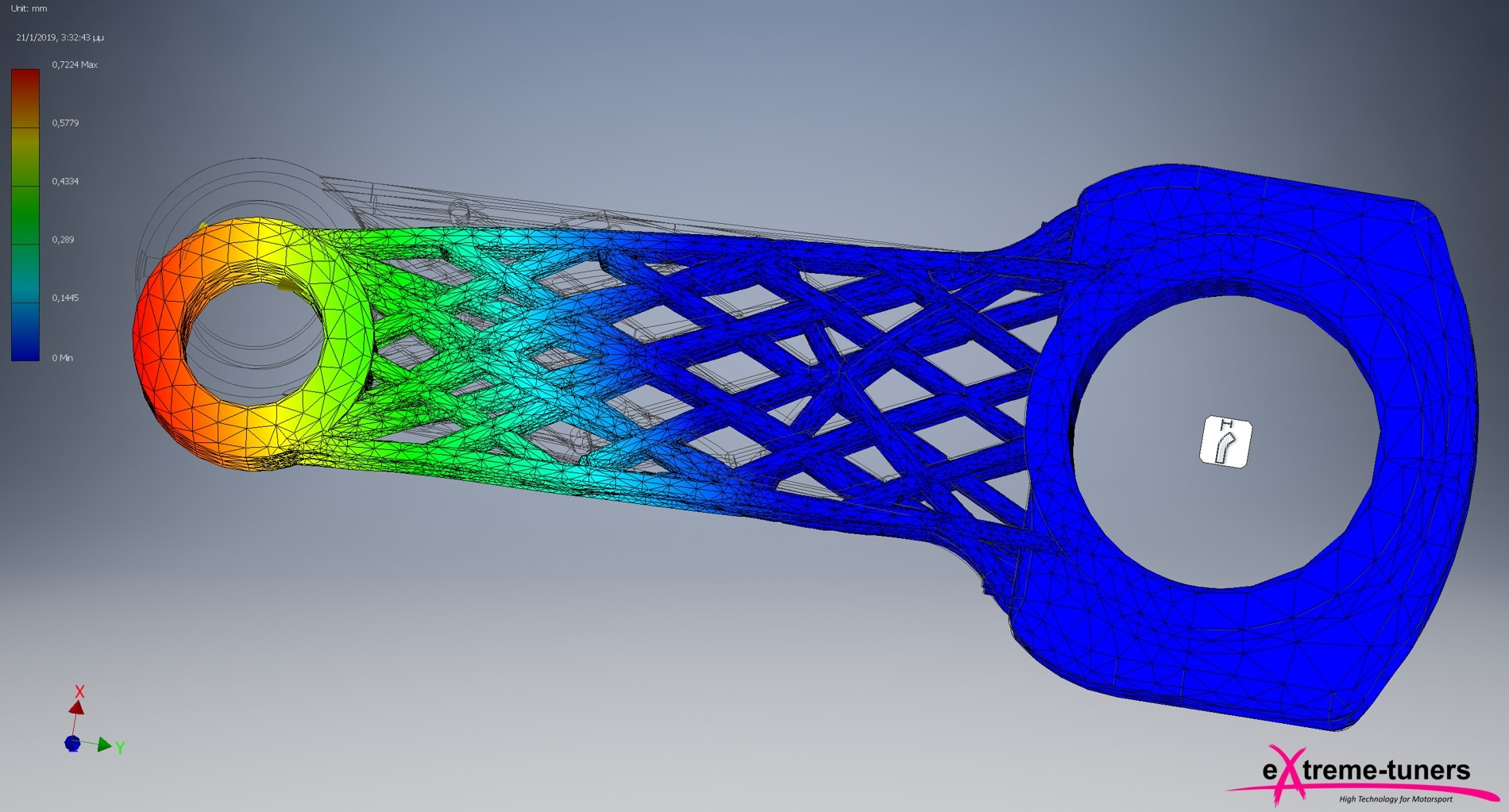 Stress analysis of the 3D printed carbon composite connector rods. Image via Extreme Turners. Stress analysis of the 3D printed carbon composite connector rods. Image via Extreme Turners.