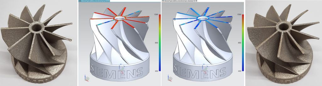 AM Path Optimizer determines overheating criticality from the scan vectors. The impeller part on the left is printed using the original file and shows clear evidence of local overheating, highlighted in red. The part on the right is printed using the optimized file, which shows no evidence of local overheating and improved surface quality. Image and caption via Siemens