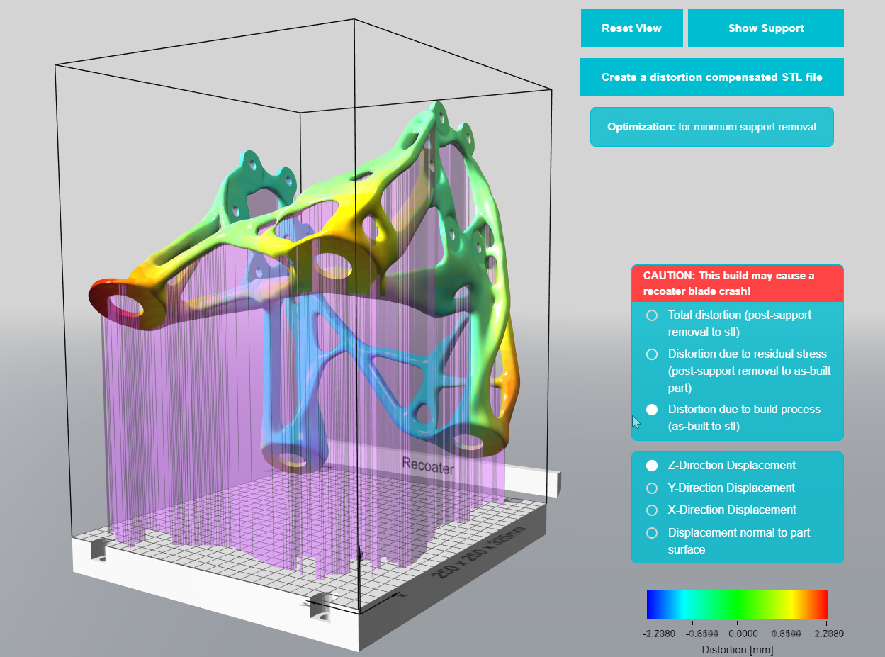 With Atlas3D, designers and manufacturing engineers can gain insights into the optimal part build orientation in order to minimise supports, distortion, effort to remove supports, part material, and printing time. Image via Atlas 3D.