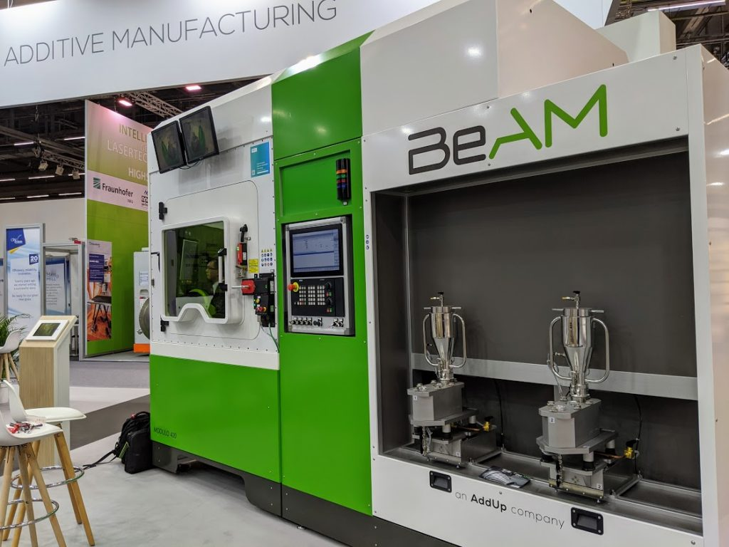 BeAM on the AddUp booth at formnext 2019. Photo by Michael Petch.