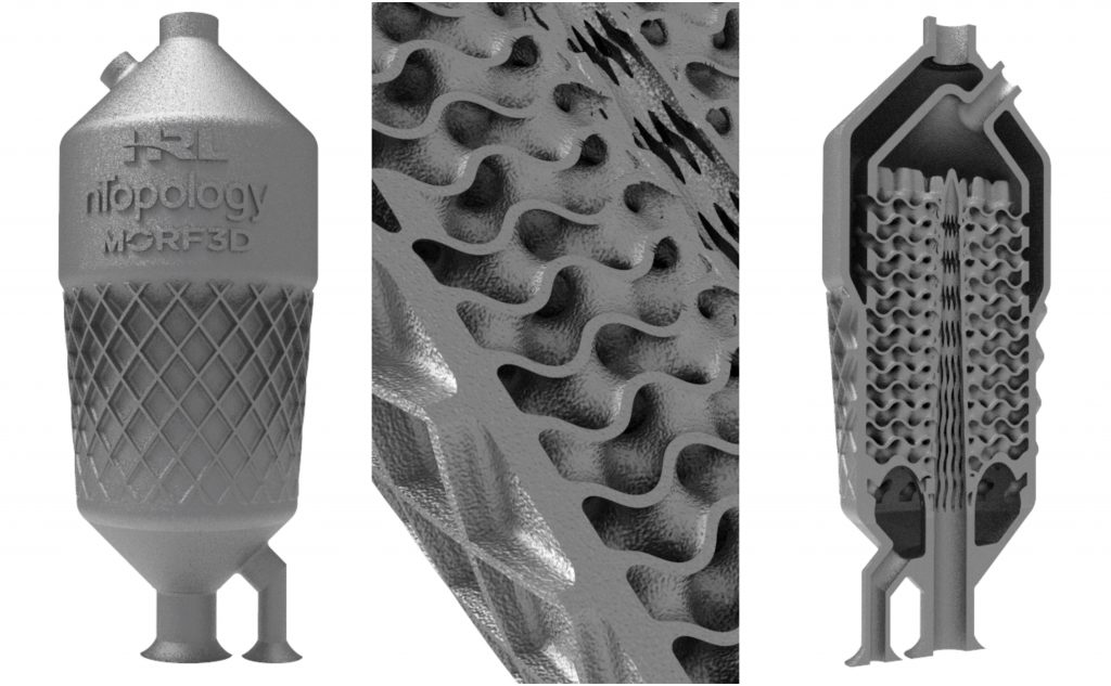 Detail of the topological gyroid heat exchanger designed by nTopology, 3D printed by Morf3D, and made from HRL high strength aluminum 7A77. Image via nTopology
