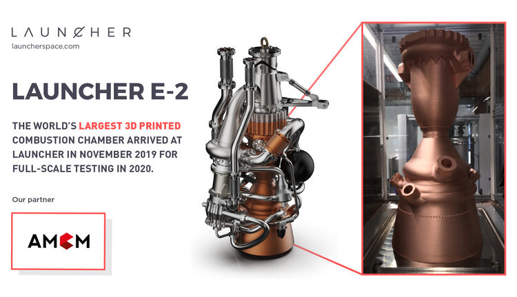 The E-2 rocket engine with the largest 3D printed combustion chamber. Image via Launcher.