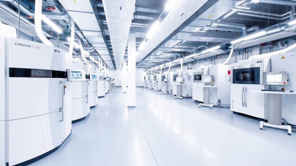 A factory of EOS machines. Photo via EOS.