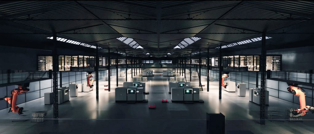Visual of an EOS metal additive manufacturing factory. Image via EOS