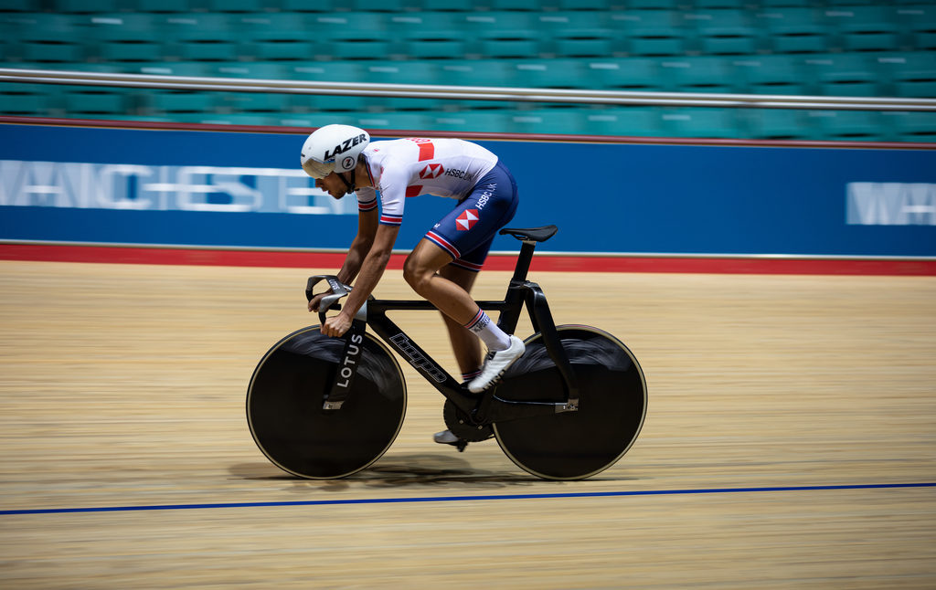 Test ride with the new HopeLotus track bike for British Cycling at the Manchester Velodrome. Photo via Hope/Lotus British Cycling.